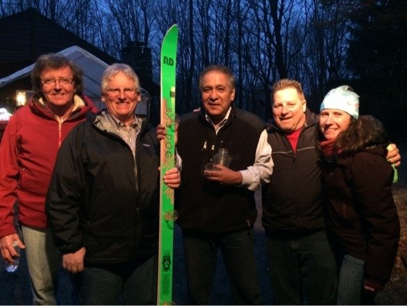 The ski season has ended at Elk Mt. The Ski King and friends toasted ULLR with the shotski.  May the snow return soon!