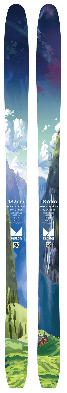 Toppturskien Hurrungane 89 ble meget populær i fjor og ble utsolgt tidlig på høsten. Årets store nyhet er en bredere versjon, Hurrungane 101, for de litt dypere dagene på fjellet. Med 101 mm under foten, rocker og en vekt på 1550g er det en meget allsidig modell. - ©SGNskis