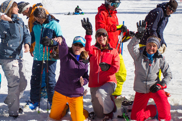 OnTheSnow Ski Test Team of 2014/15 unwinding after three amazing days at Snowbird, Utah.