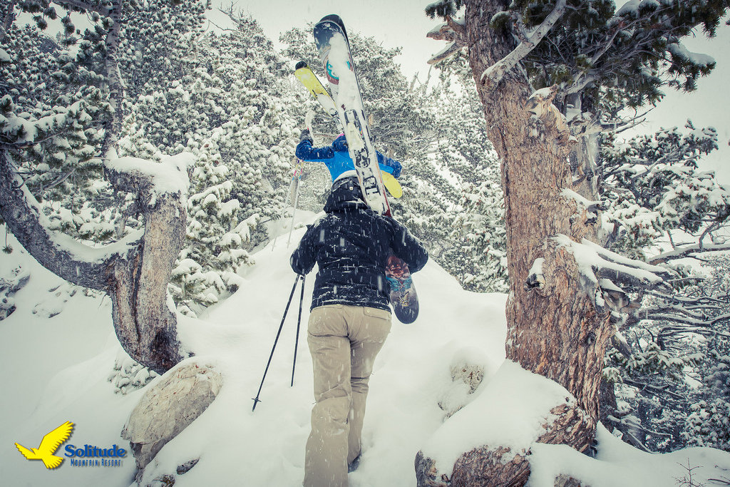 A duo of skiers leads the bootpack up EGP at Solitude Mountain Resort.