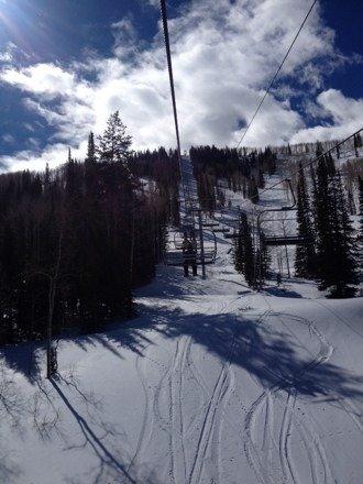 Beautiful warm spring skiing in February
