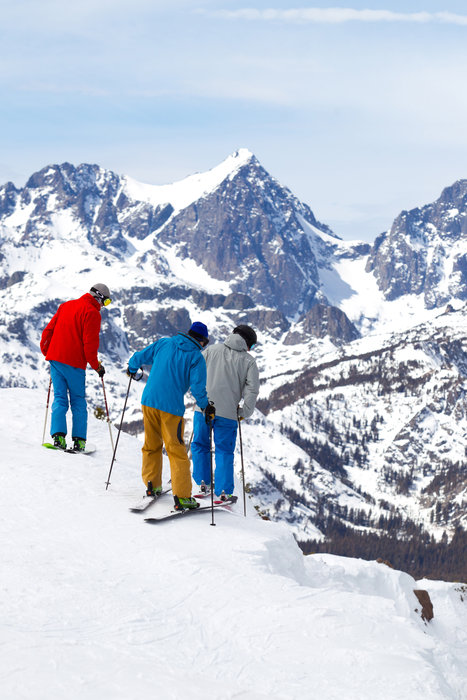 Mammoth's variety of steep terrain forces skiers to choose their line wisely before dropping in.