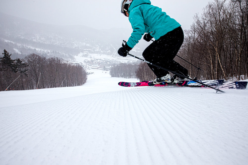 Sugarbush is very well groomed. Skier Mary Simmons.