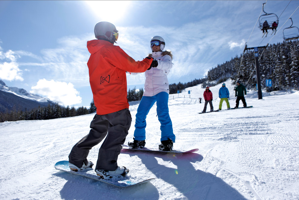 Designated beginner areas on both Whistler and Blackcomb Mountains are great places to learn to ski and snowboard.