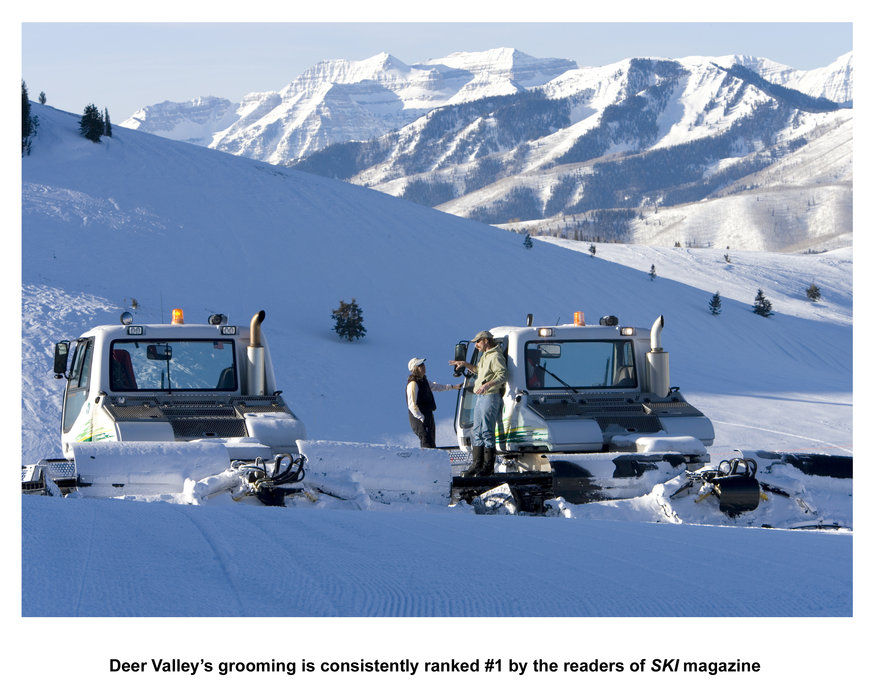 Groomers on the slopes of Deer Valley, Utah