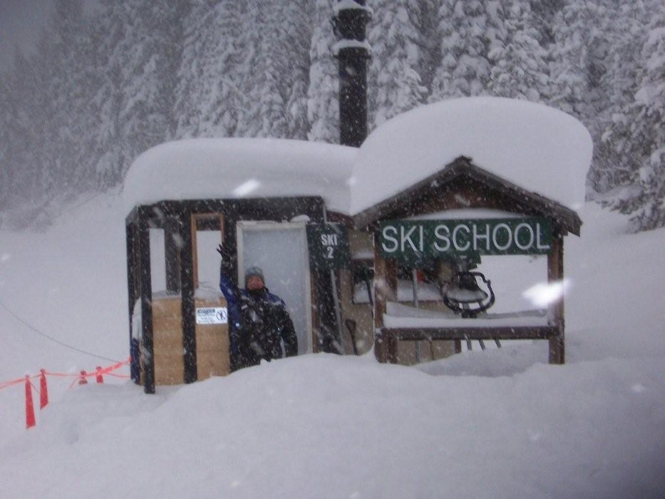 The snowcovered ski school at Lookout Pass, ID.