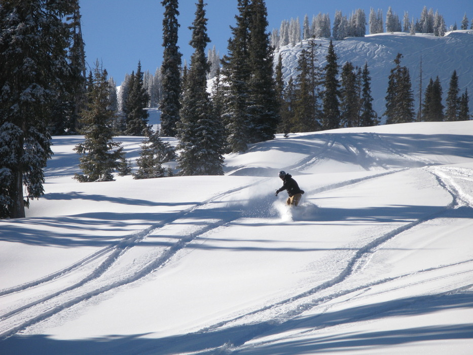 A snowboarder at Wolf Creek, CO.