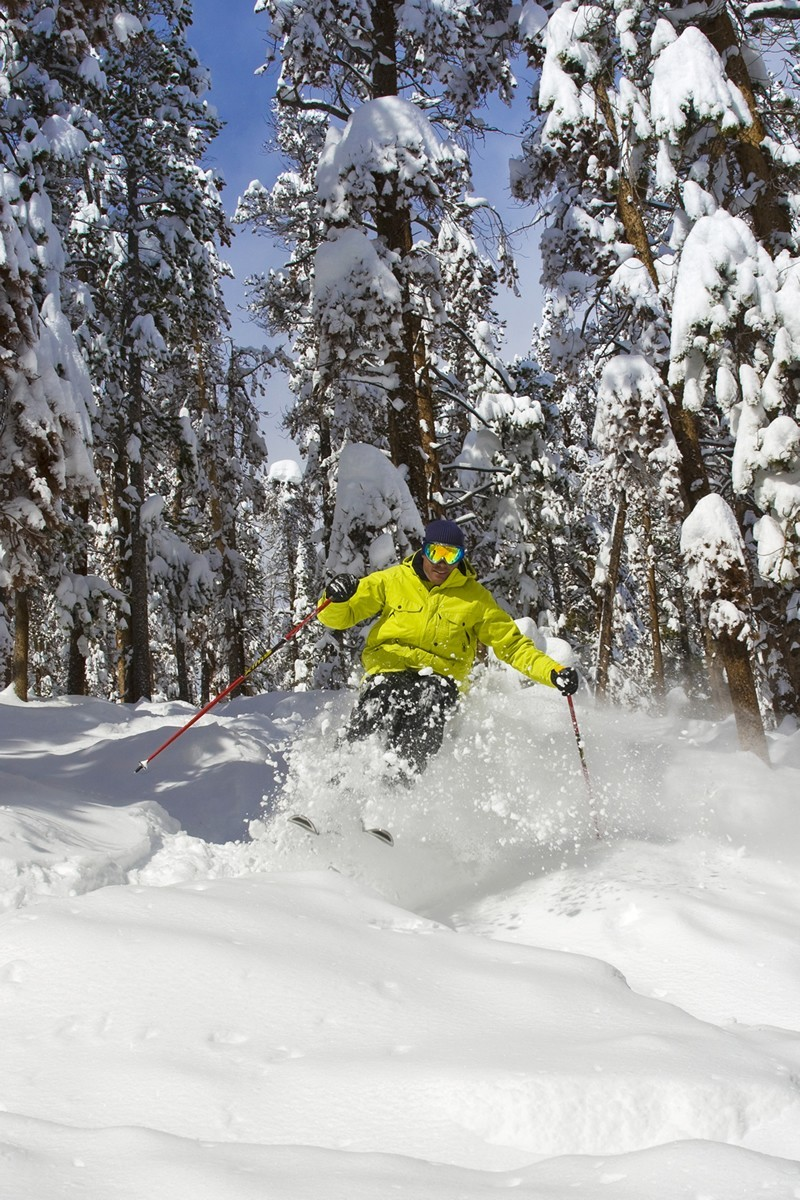 Skier in powder at Winter Park, CO.