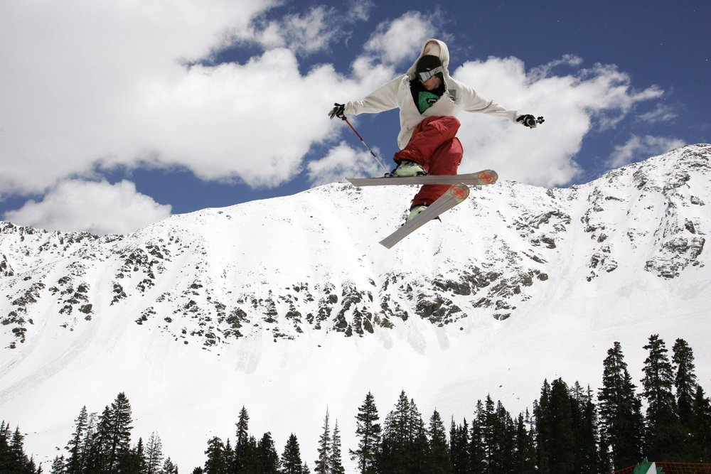 A skier catching air at Arapahoe Basin, CO.