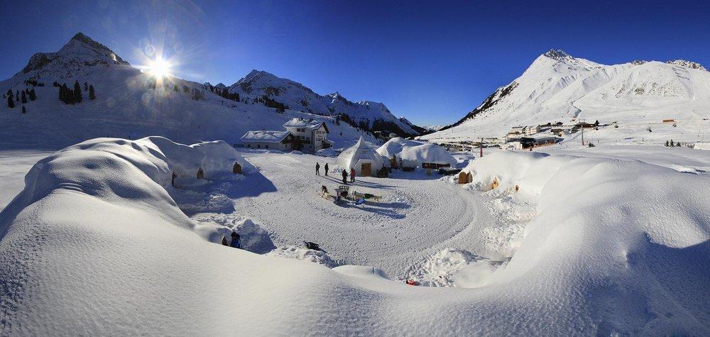 Igloo Village at top of mountain in Kuhtai