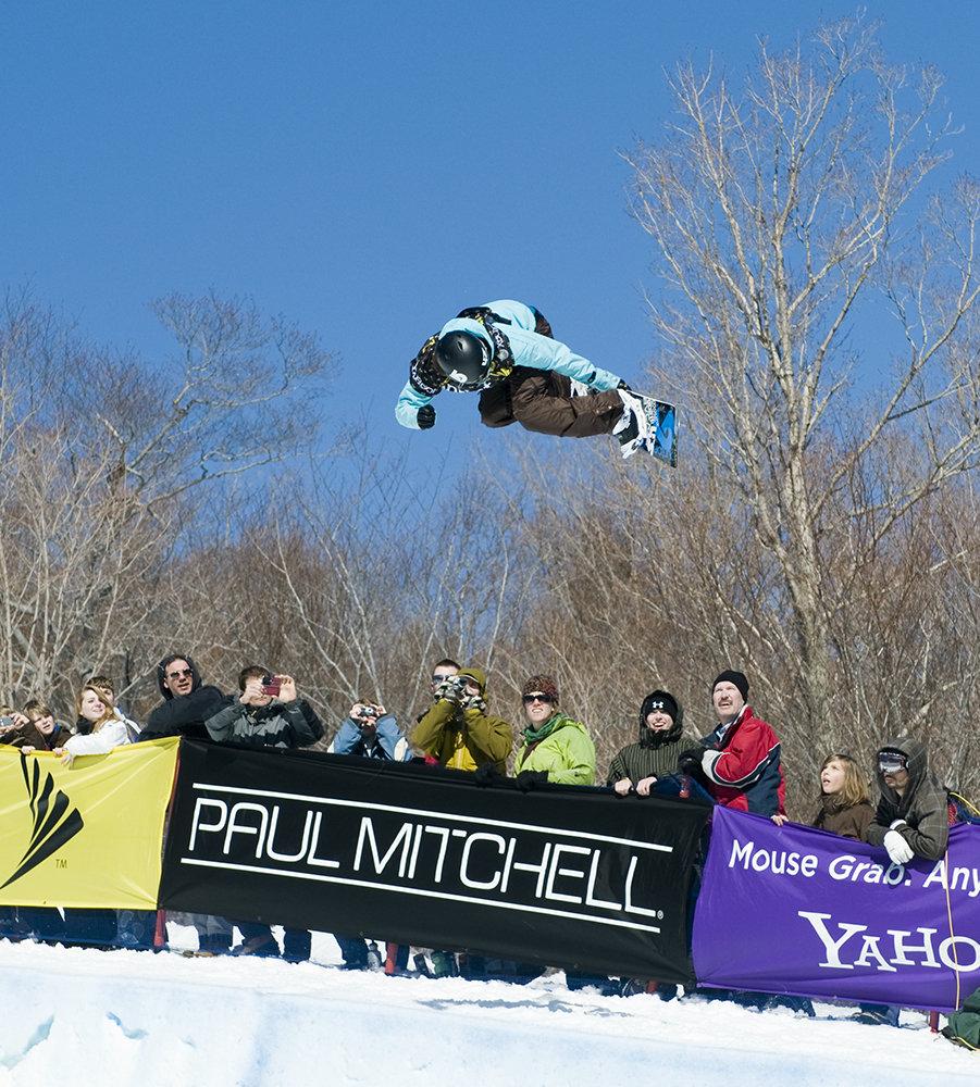 Kelly Clark flies above the crowd at Killington.
