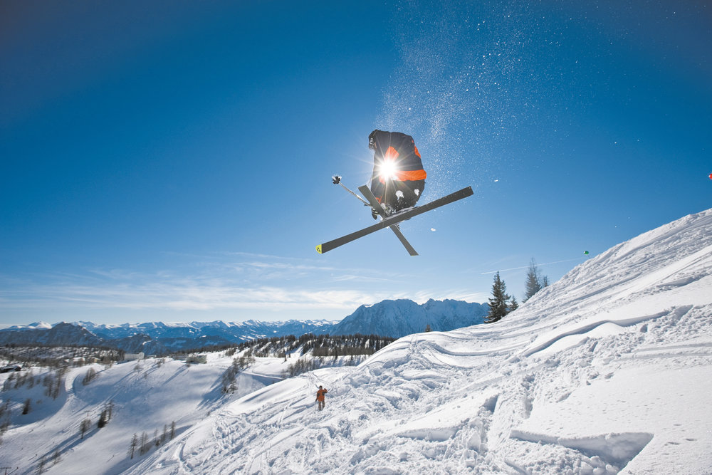 Skier jumping in Tauplitz.