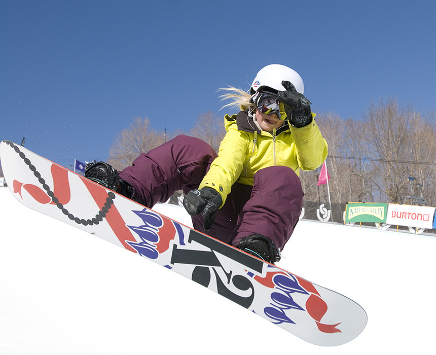 Mikaela Casey on half-pipe at Stratton