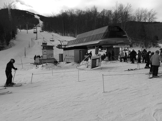 For the most part the conditions were hard packed to icy. Crowd very small for a  holiday weekend. Little wait time at lifts. Grooming is good, but they really need snow.