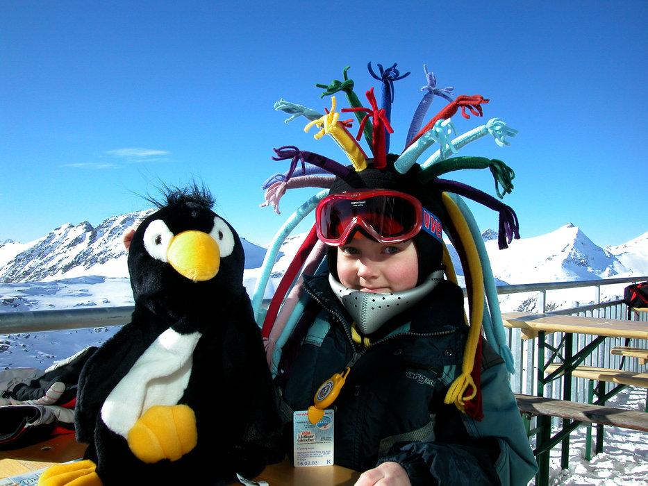 A child with his penguin friend at Flattach Mölltaler AUT