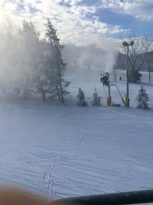 Snowmaking all day. Slopes are groomed. Few spots are thin but otherwise OK. Backside blues are the best coverage-wise with smaller crowds.