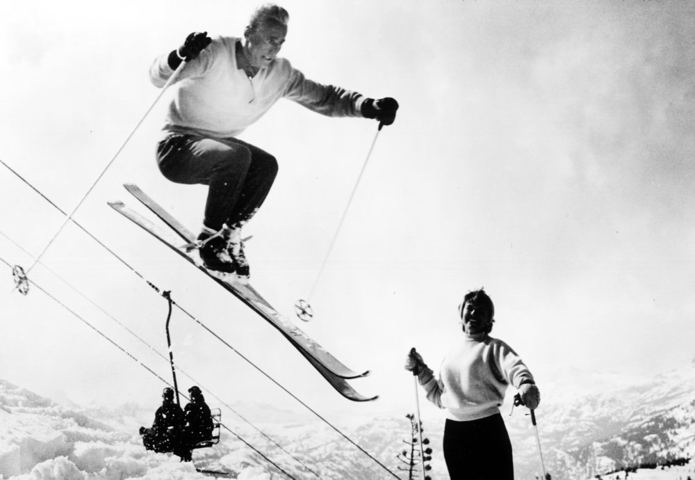 Anderl Molterer demonstrates jumping in the early decades at Sugar Bowl.