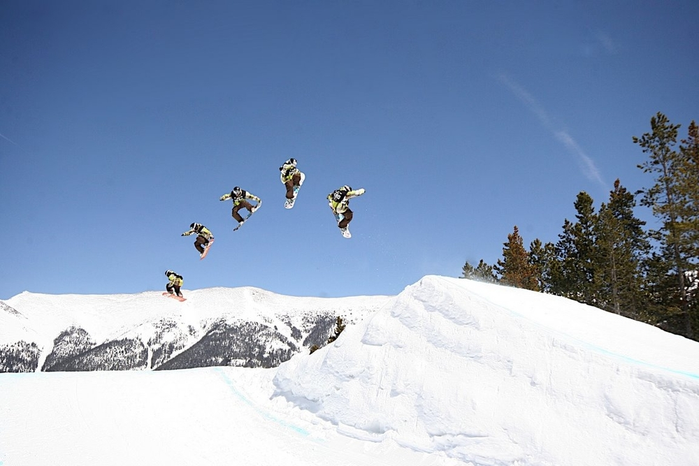 A multiexposure image of a jump at Copper Mountain, CO.