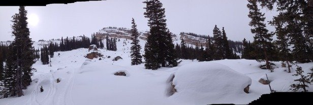 Still some powder in Snowmass with more coming today...