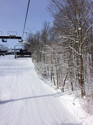 Great conditions. Tons of snow.  Well groomed sunny.  No wind