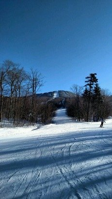 Pico has a good base. Some icy trails from the wind Saturday but good overall conditions.
