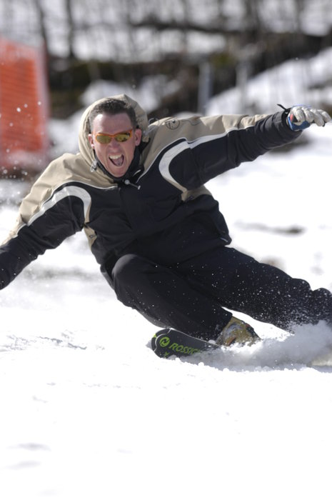 A skier on the slopes of Shawnee, PA.