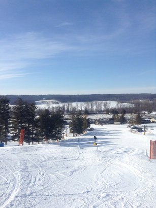 Great day to ski.  A little bit icy in some spots. Wish they would open more chair lifts tho.