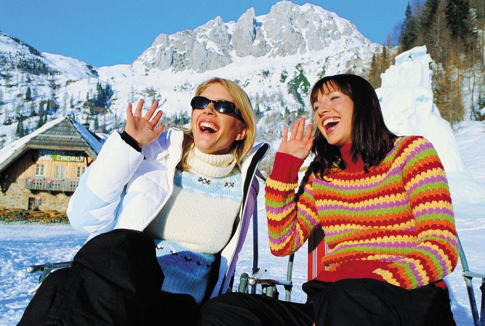 Two women laughing in Kaernten/Carinthia AUT.