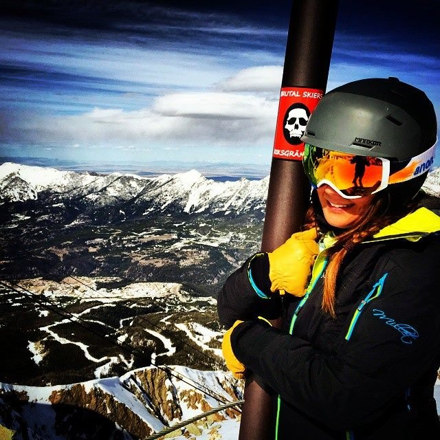 I was glad to have this helmet for the steep decent off Lone Peak, Big Sky. - ©Eric Schmidt