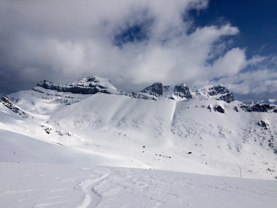 Lake Louise - Skied april 18th. Front side is hard packed but skiable and not too icey. Back side is nice. Best snow is at Larch and Ptarmigan chairs. Have fun!!  - ©laur