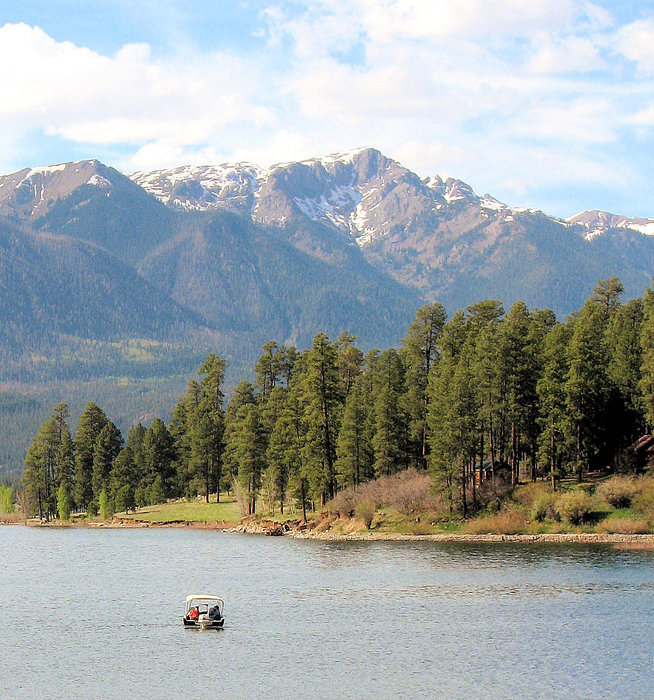 Boating in Vallecito Lake, Durango, CO.
