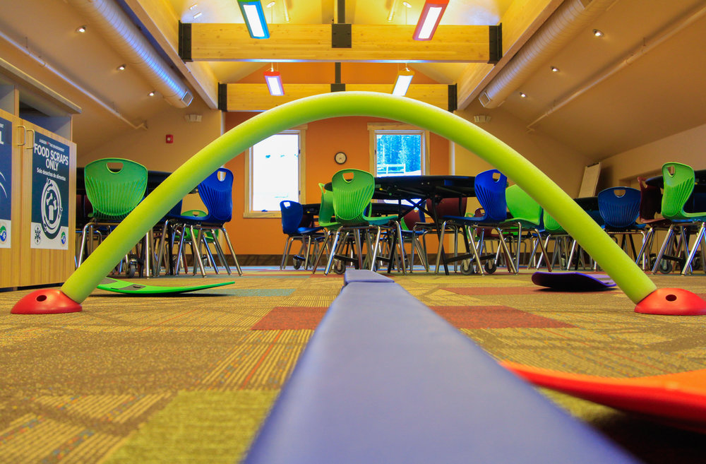 Balance beams and obstacle courses at the new Kids Center help to hone skills for the hill.