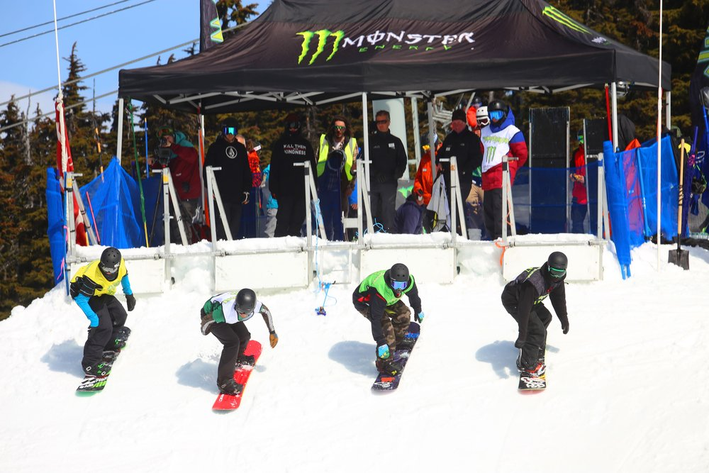 Boarder cross start at the World Ski and Snowboard Festival at Whistler Blackcomb.
