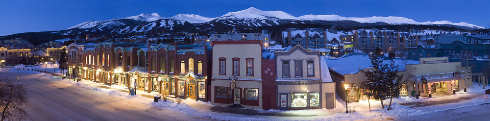 The town of Breckenridge, CO at night.