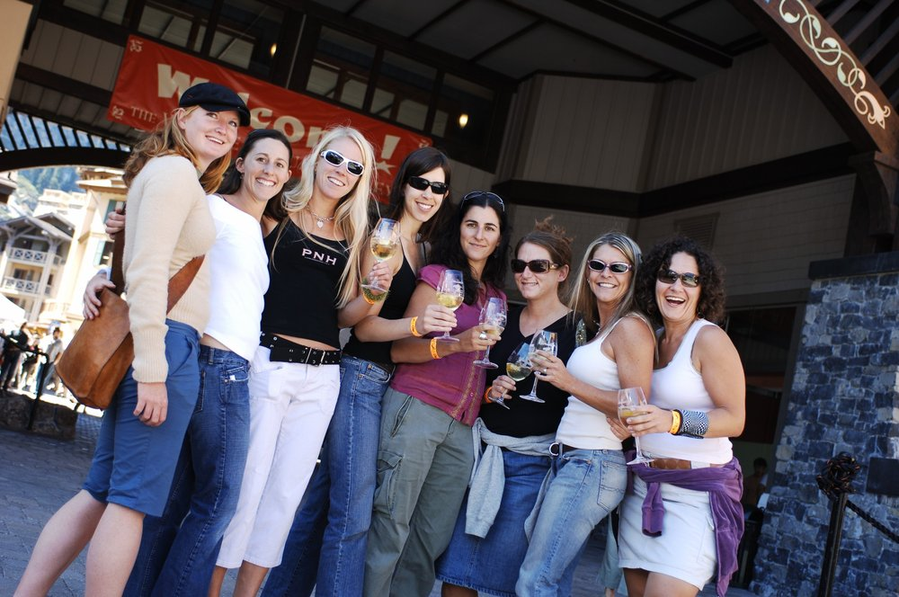 Women at The Village at Squaw Alpen Wine Festival.
