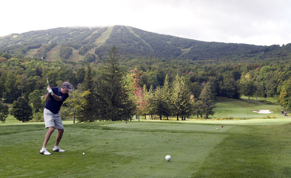 Golfer at Stratton Mountain Resort Golf Course.