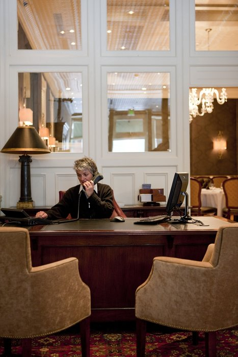 The check-in desk of the New Sheridan Hotel in Telluride, CO.