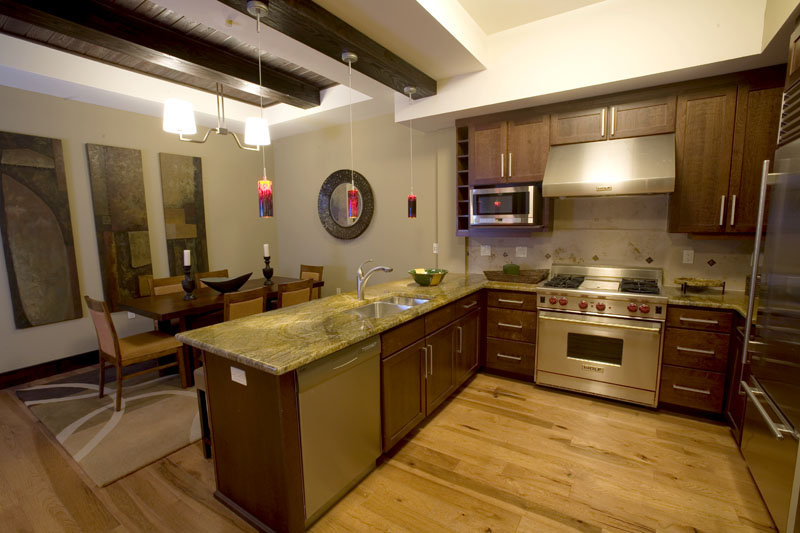 The kitchen/dining area of a Lumiere suite in Telluride, CO.