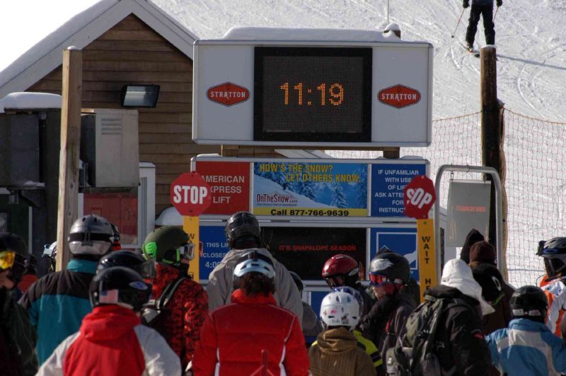 A view of a digital clock in Stratton Mountain, Vermont
