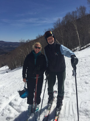Sugarbush - Henri of Chez Henri and I enjoying Sunday's epic spring ski day. Sugarbush at its best