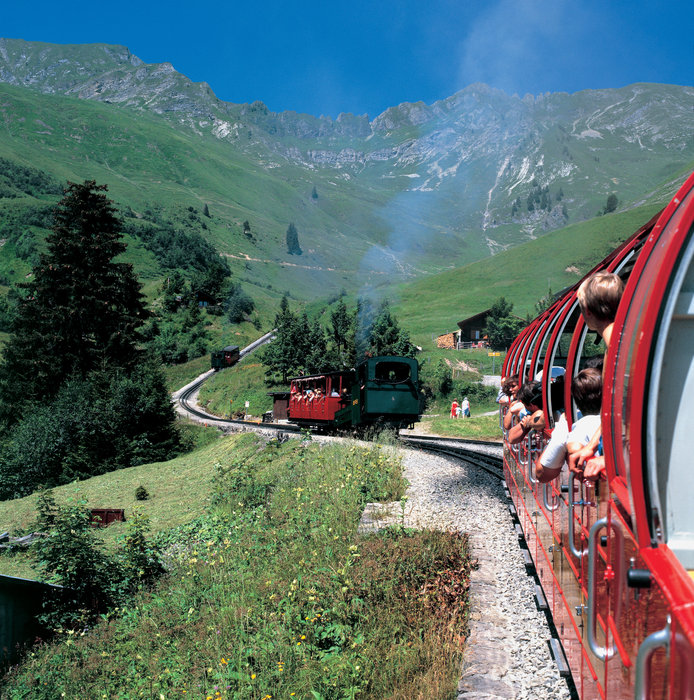 Switzerland. get natural.. The Brienzer Rothorn (2350 m) in the Bernese Oberland. Steam and diesel locomotives transport the cogwheel railway up to the top. At the intermediate stop of Planalp (1341 m).. . Schweiz. ganz natuerlich.. Brienzer Rothorn (2350 m) im Berner Oberland. Dampf- und Dieselloko