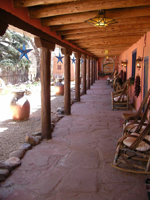 The front porch of the Adobe & Pines Inn, Taos, NM.