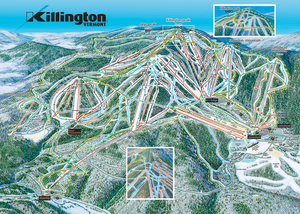 A trailmap for Killington, VT.