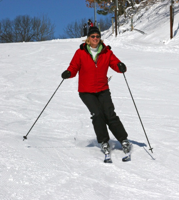Woman skiing at Wild Mountain, MN