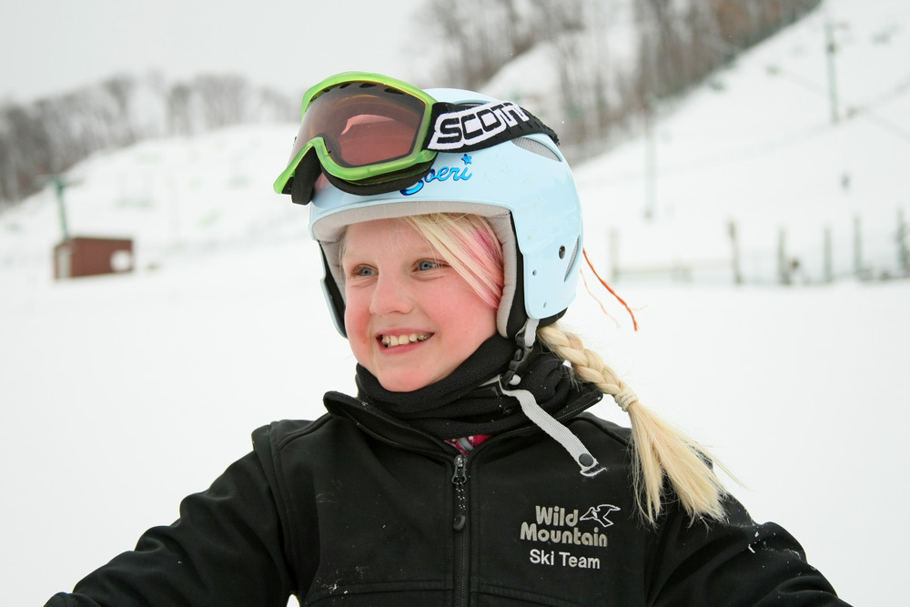 Girl with helmet and goggles at Wild Mountain, MN