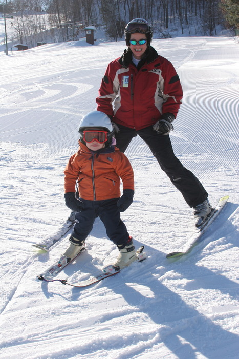 Child and instructor at Wild Mountain, MN ski school