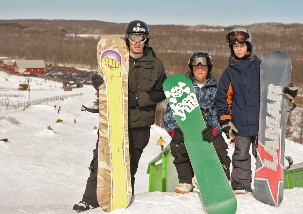 A trio of snowboarders at Wild Mountain, MN
