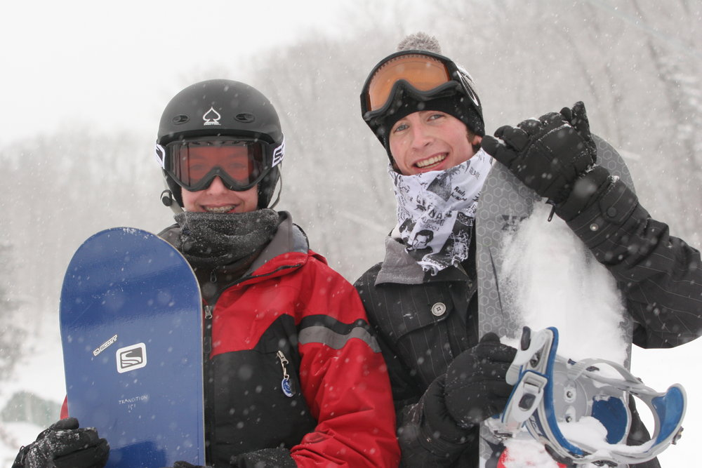 Pair of snowboarders at Wild Mountain, MN