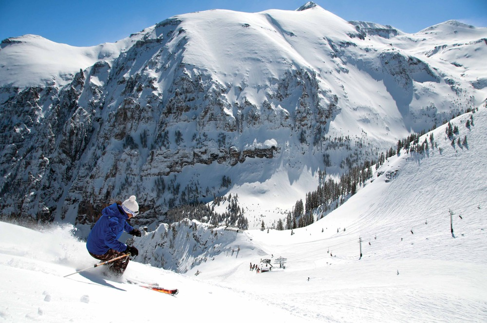 A skier at Telluride's Revelation Bowl.