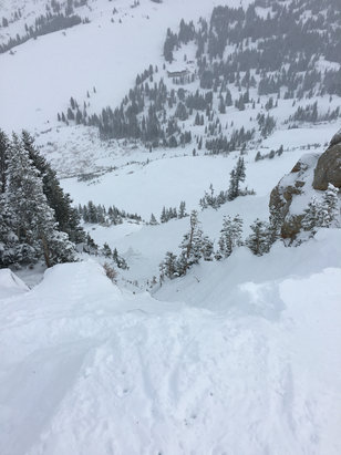 Alta Ski Area - Looking down from the top of Gunsight. So so good up here today! - ©Justin's iPhone